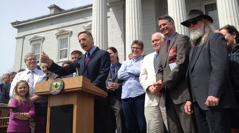 Vermont Governor making an annoucement in front state capitol
