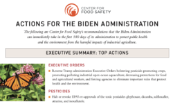 Center for Food Safety's Biden Administration Priority Recommendations Urgently Needed to Protect Our Food and Environment